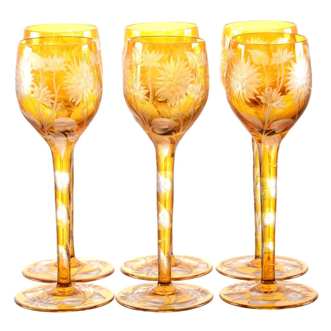"(6) Rhine Wine Glasses - 8.25"" - Solid Amber to Clear"