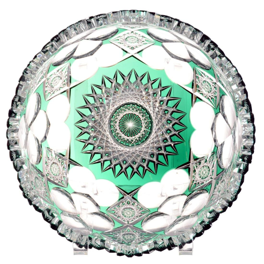 "Bowl - 3"" X 8.5"" - Emerald Green Cut to Clear"