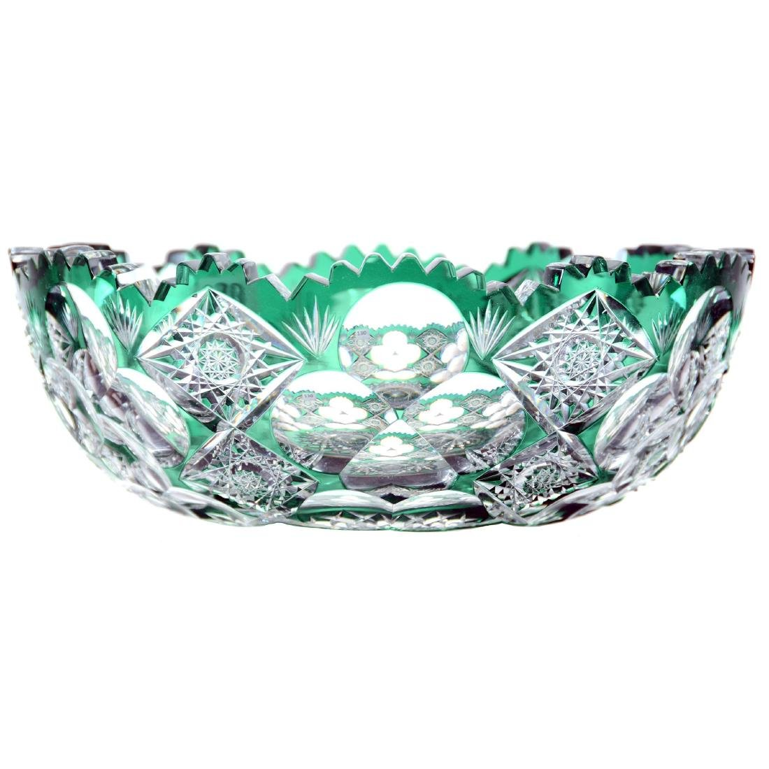 "Bowl - 3"" X 8.5"" - Emerald Green Cut to Clear - 2"