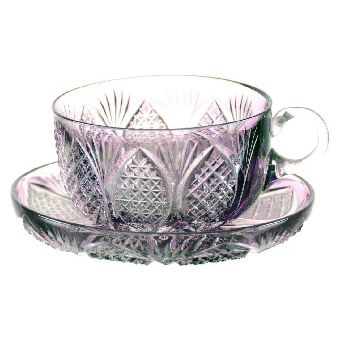 """Cup and Saucer - 2"""" X 4.5"""" - Amethyst Cut to Clear"""
