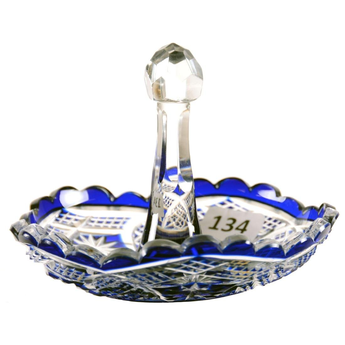 "Stick Dish - 3.5"" X 4"" - Cobalt Blue Cut to Clear"