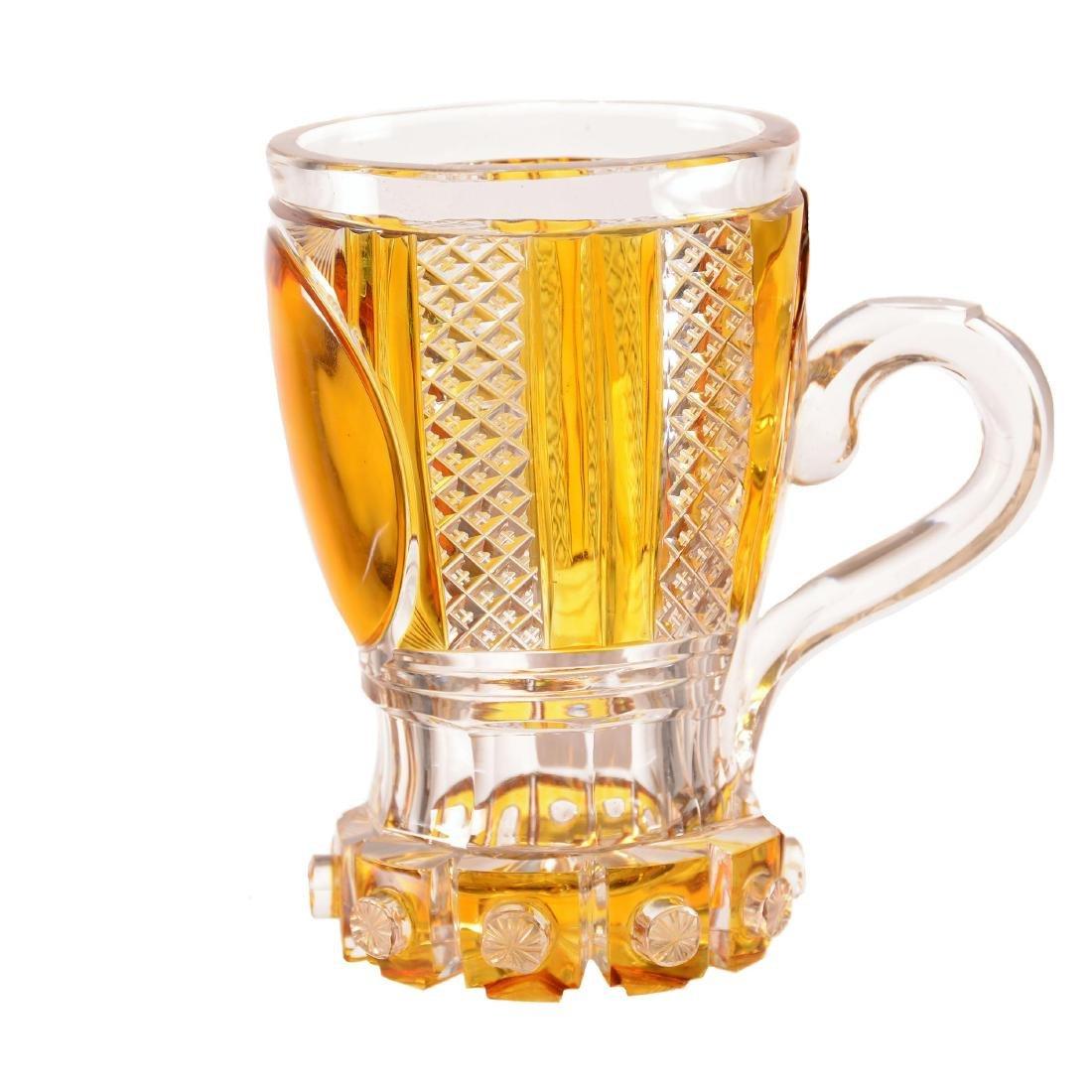 """Bohemian Mug - 5.75"""" - Amber Cut to Clear"""