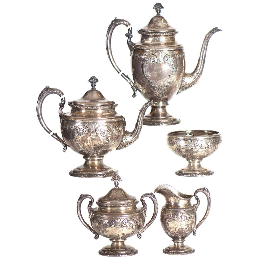 Sterling Silver Five Piece Tea Service by Towle