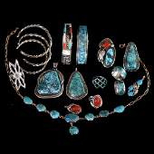 (16) Turquoise, Silver, Gold and Coral Jewelry Items