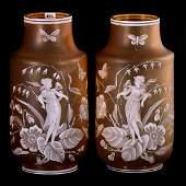 "Pair Art Glass Vases Marked Florentine - 12.25"" X 6"""