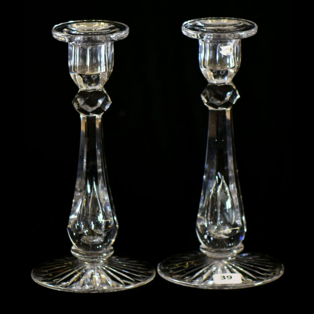"""Pair Candlestick Holders - ABCG - 8"""" - Signed Libbey"""
