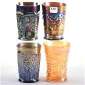 4 Tumblers  Carnival Glass