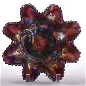 Eight Ruffle Bowl  Carnival Glass  1075
