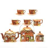 English Figural Cottage Ware Set  12 Pieces