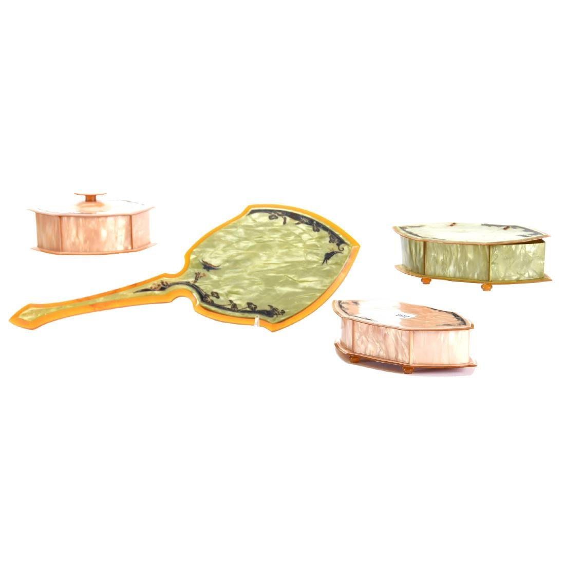 Four Piece Celluloid Vanity Set