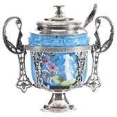 "Victorian Art Glass Sugar Bowl 6.5"""