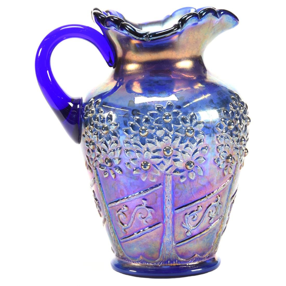Water Pitcher Blue Carnival Glass 9.5""