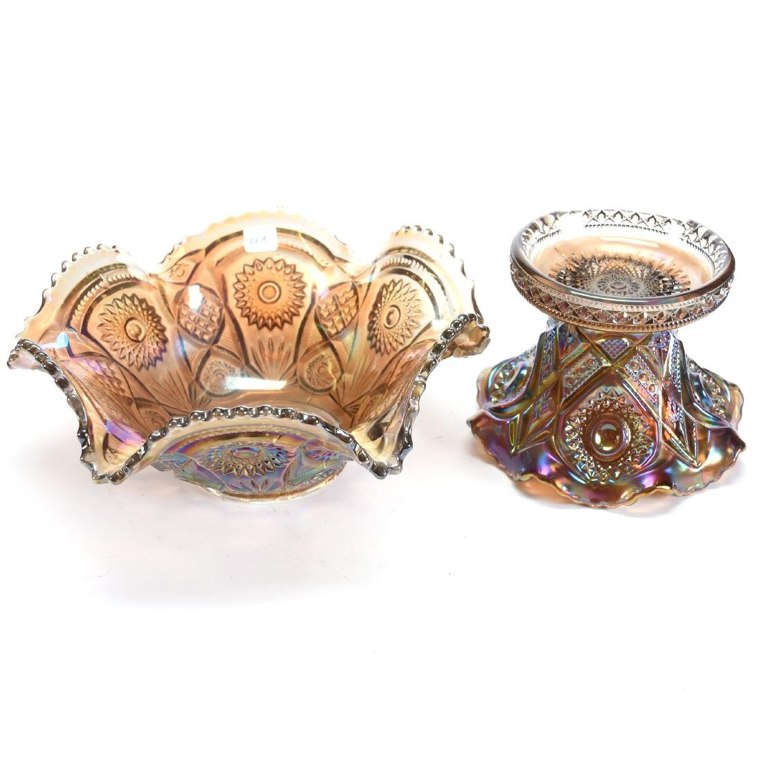 """Carnival Glass Punch Bowl 9.5"""" X 11.5"""" - 2"""