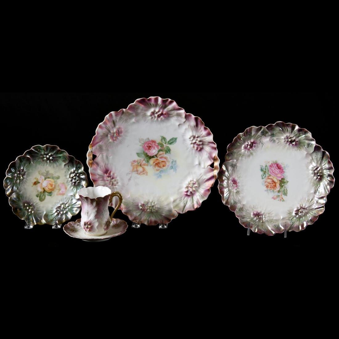 (4) Marked RS Prussia Sunflower Mold Items