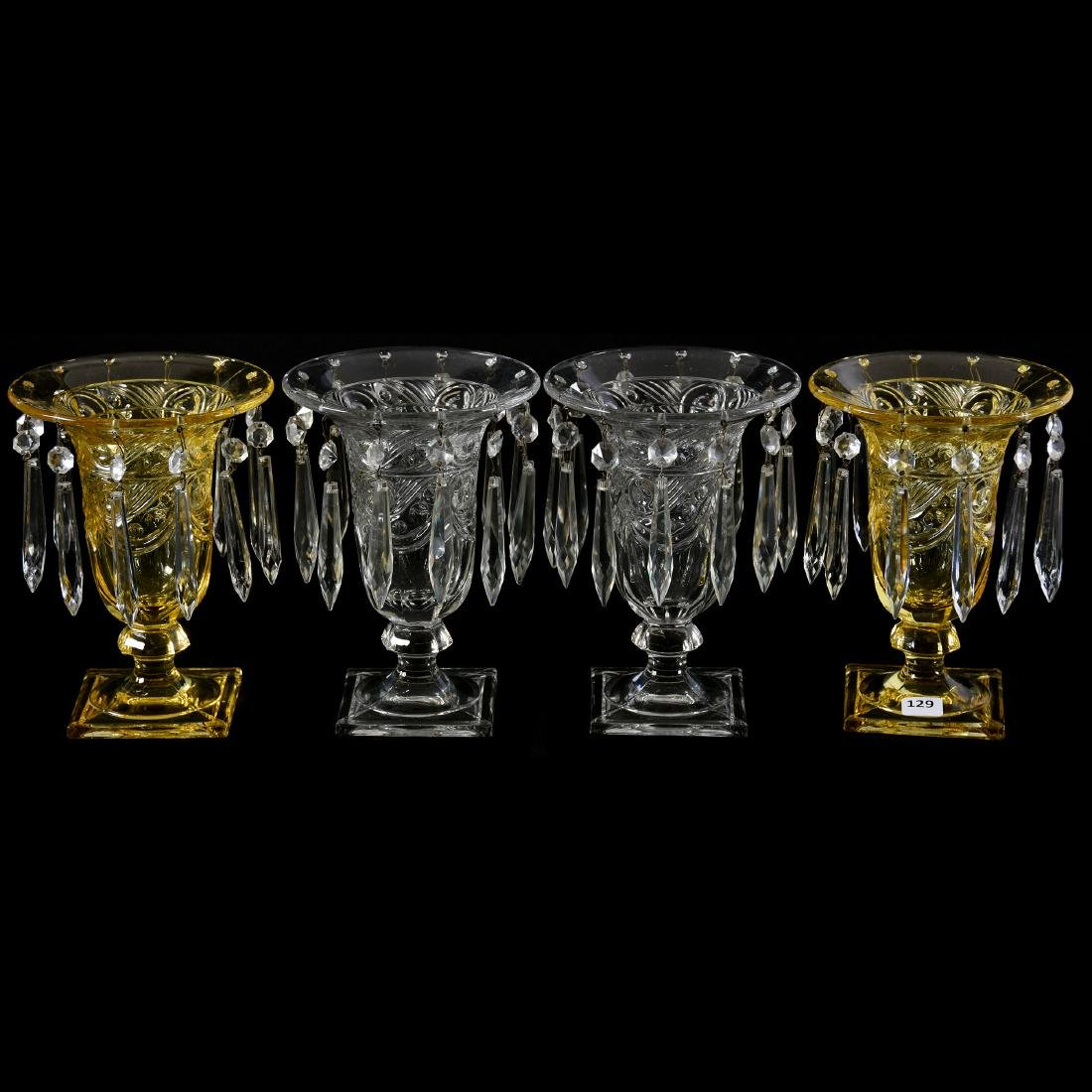 (2) Pairs Heisey Urns with Prisms 7.5""