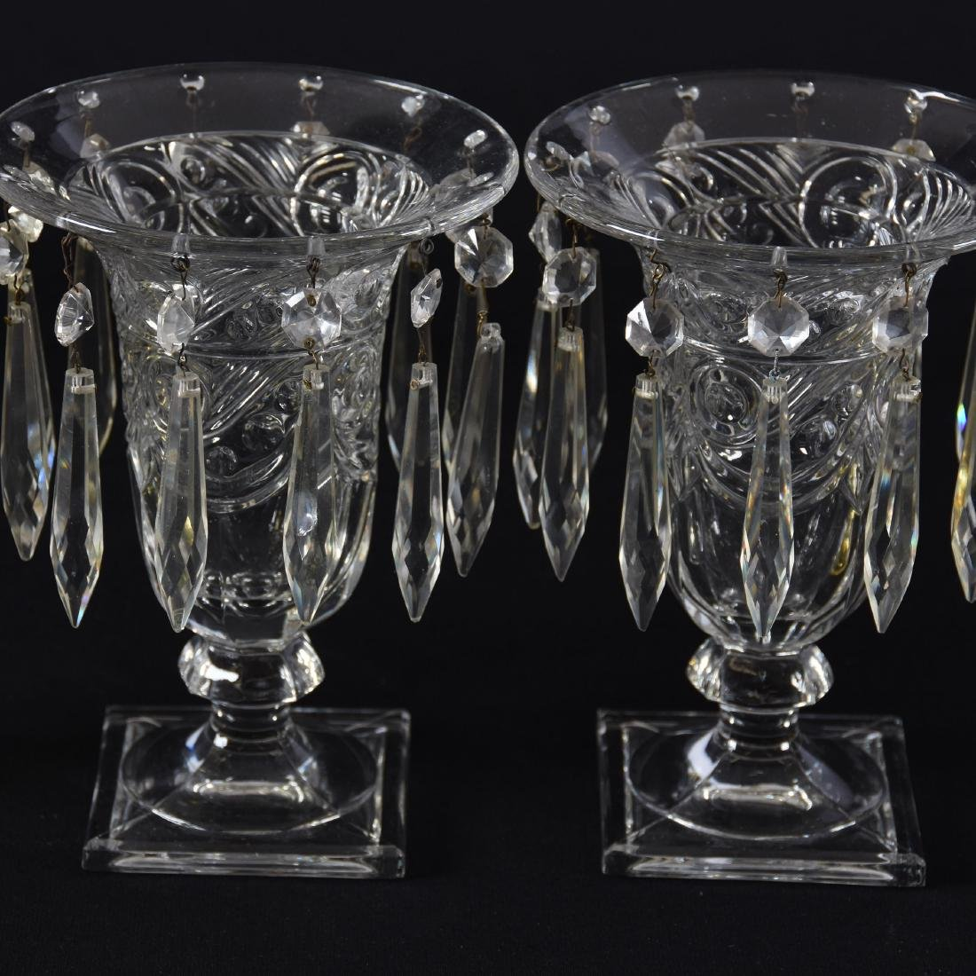 "(2) Pairs Heisey Urns with Prisms 7.5"" - 2"