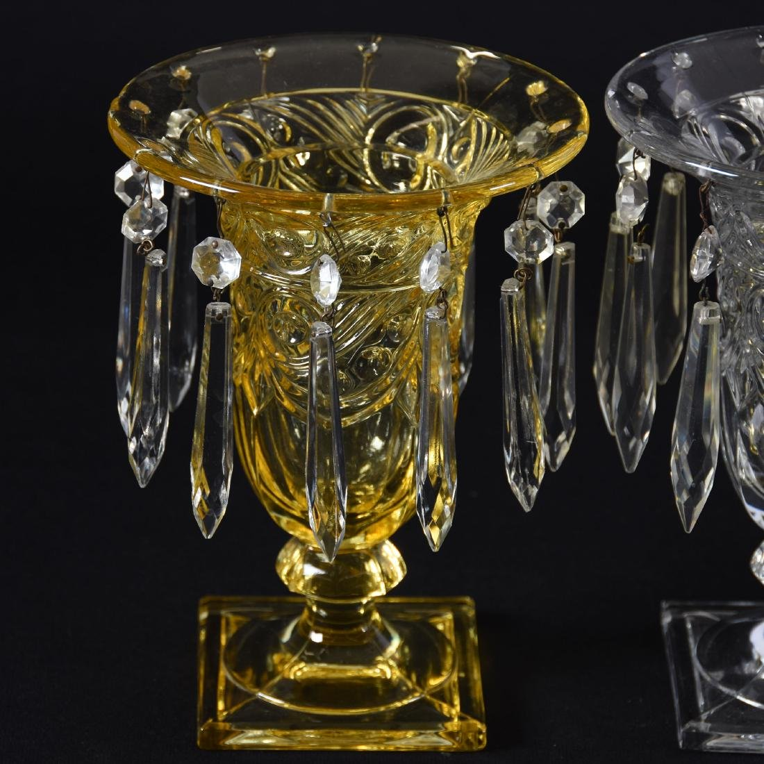 "(2) Pairs Heisey Urns with Prisms 7.5"" - 3"