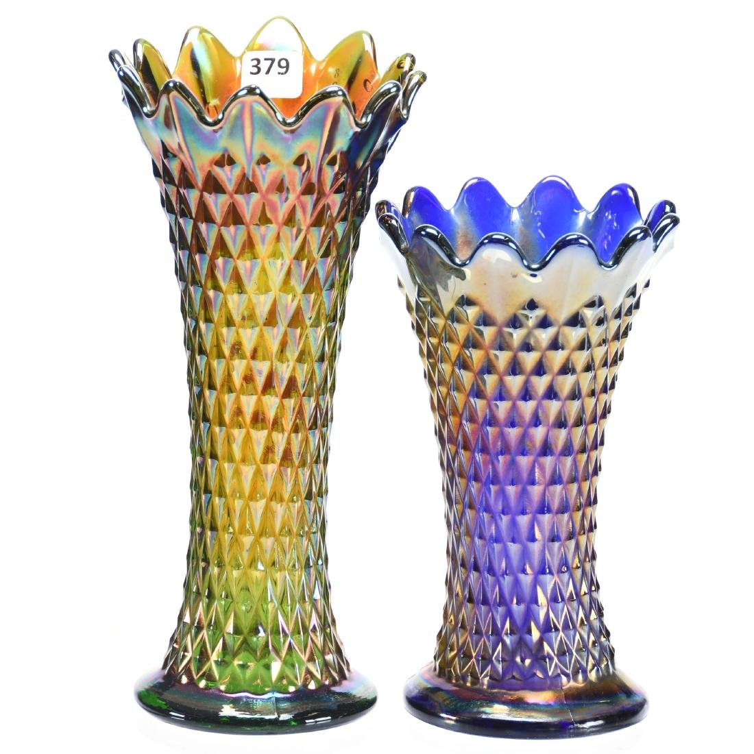 (2) Carnival Glass Vases