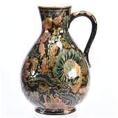 """Early Zsolnay Art Pottery Pitcher 10.5"""""""