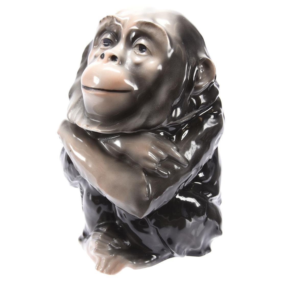 Figural Chimpanzee Humidor Royal Bayreuth Blue Mark