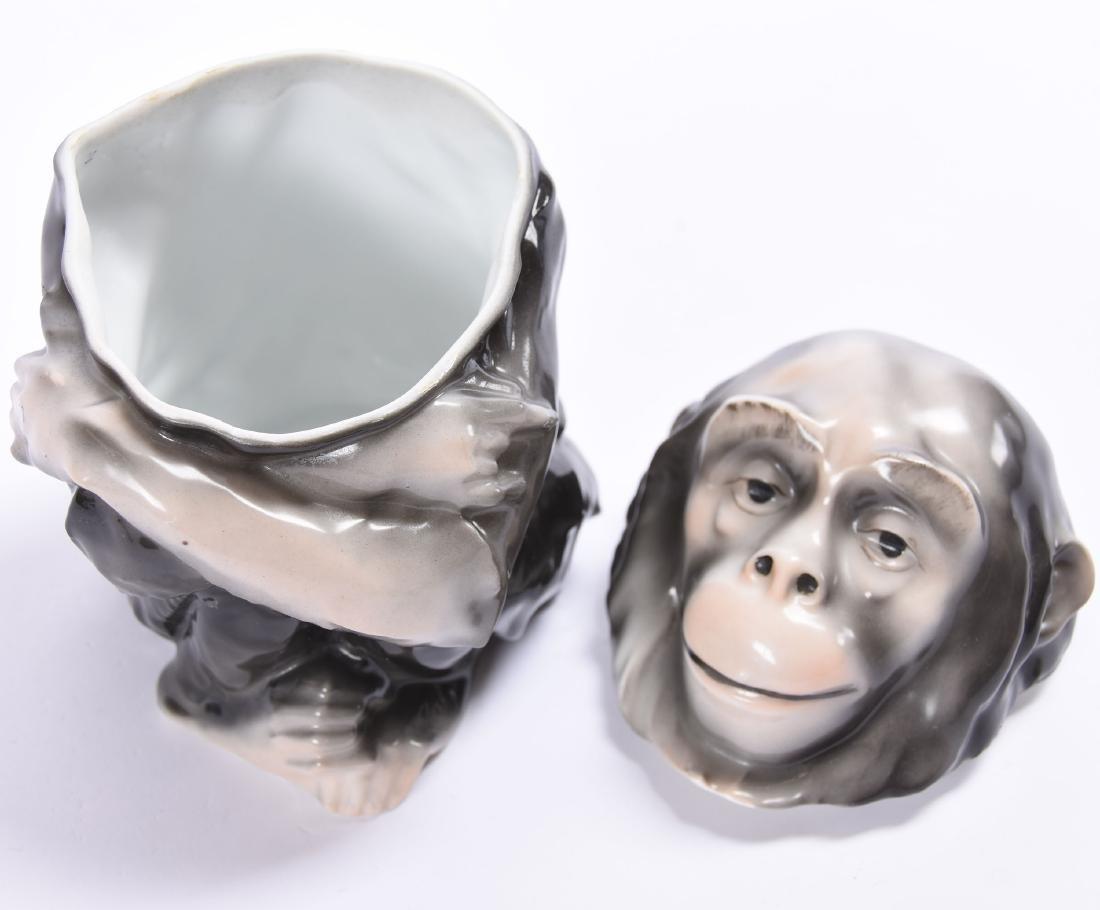 Figural Chimpanzee Humidor Royal Bayreuth Blue Mark - 2