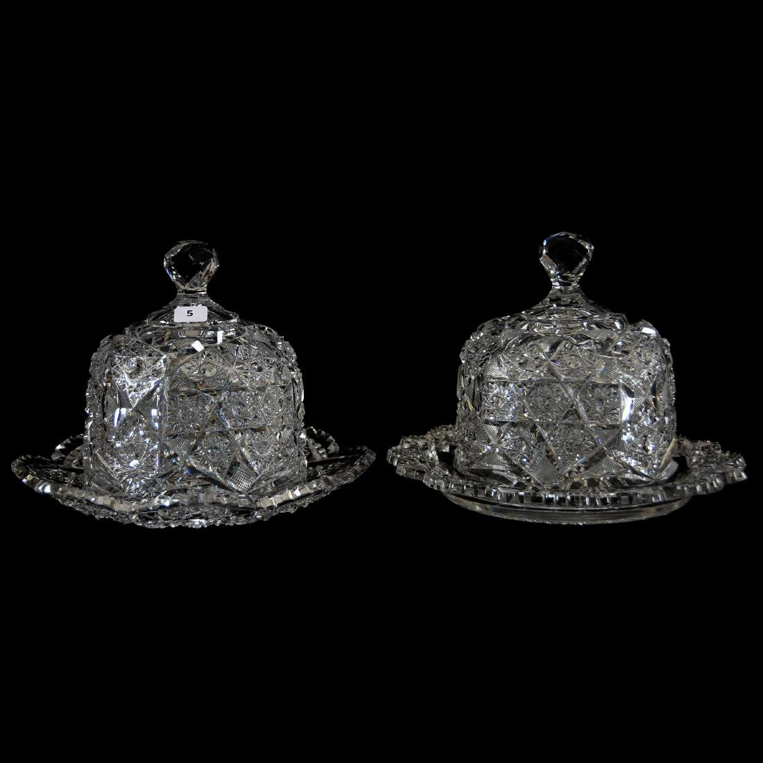(2) Cheese Dishes, Cluster & Strawberry Diamond Motif