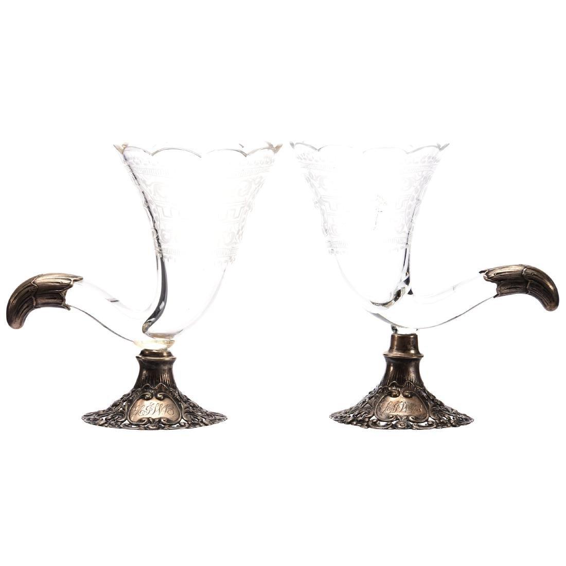 Pair Cornucopia Vases, Engraved Floral, Greek Key