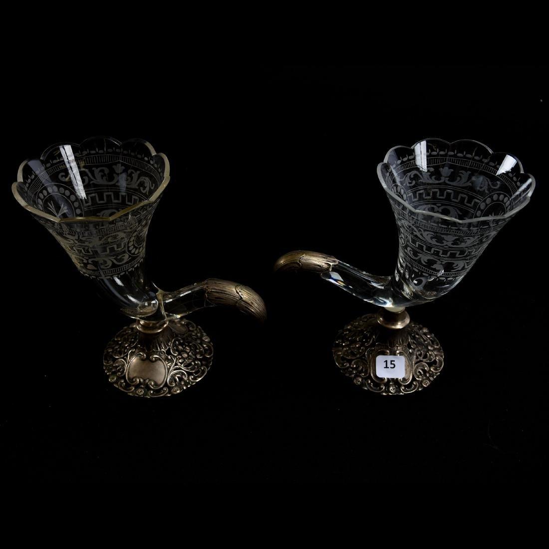 Pair Cornucopia Vases, Engraved Floral, Greek Key - 2