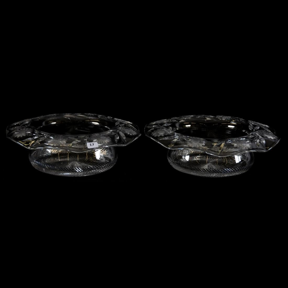 Pair Bowls, Engraved Floral Border, Ray Cut Center