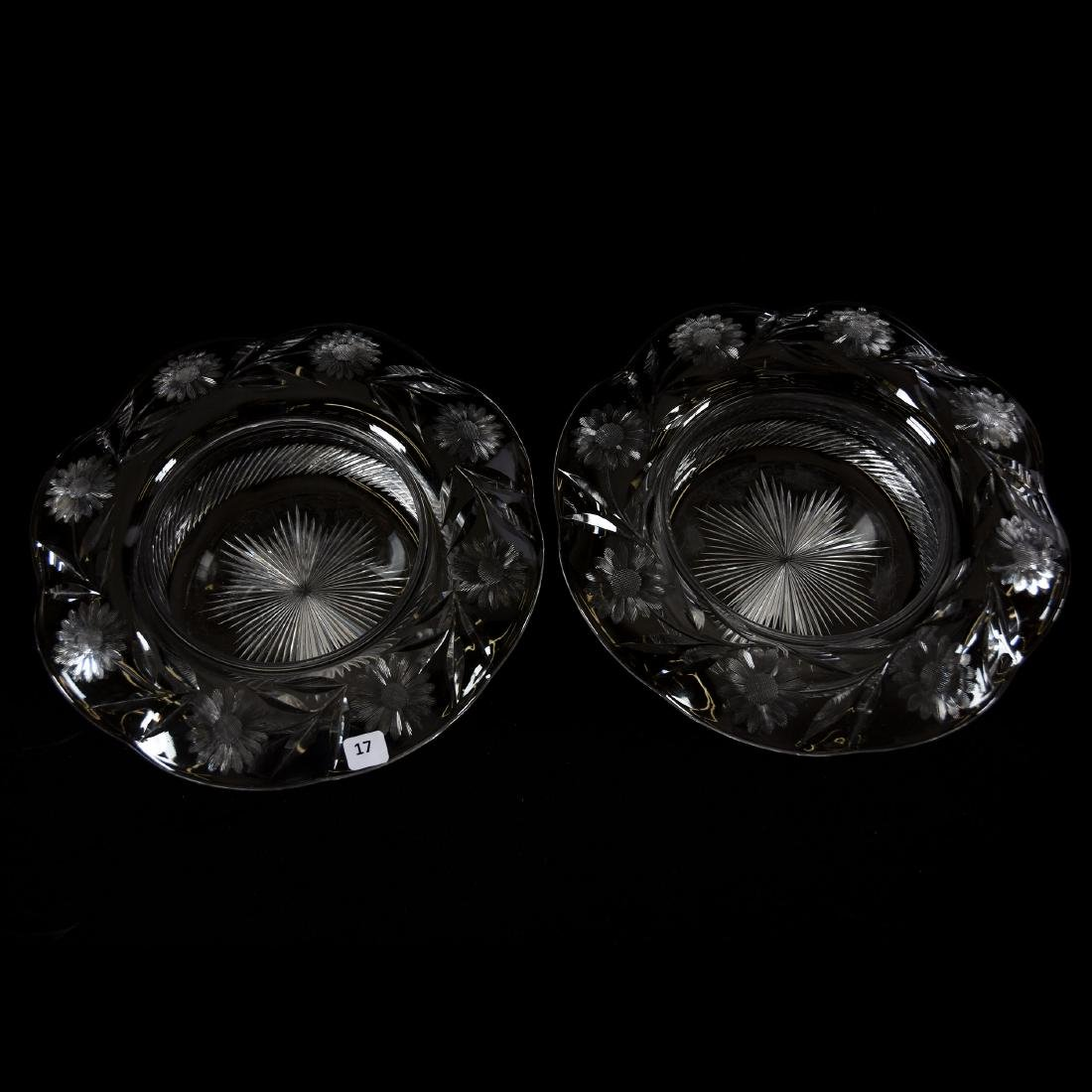 Pair Bowls, Engraved Floral Border, Ray Cut Center - 2