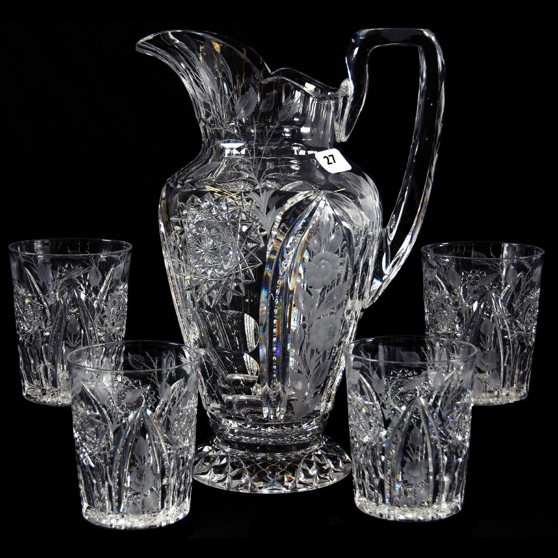 Water Set, Signed Hawkes, Engraved Rose Panels