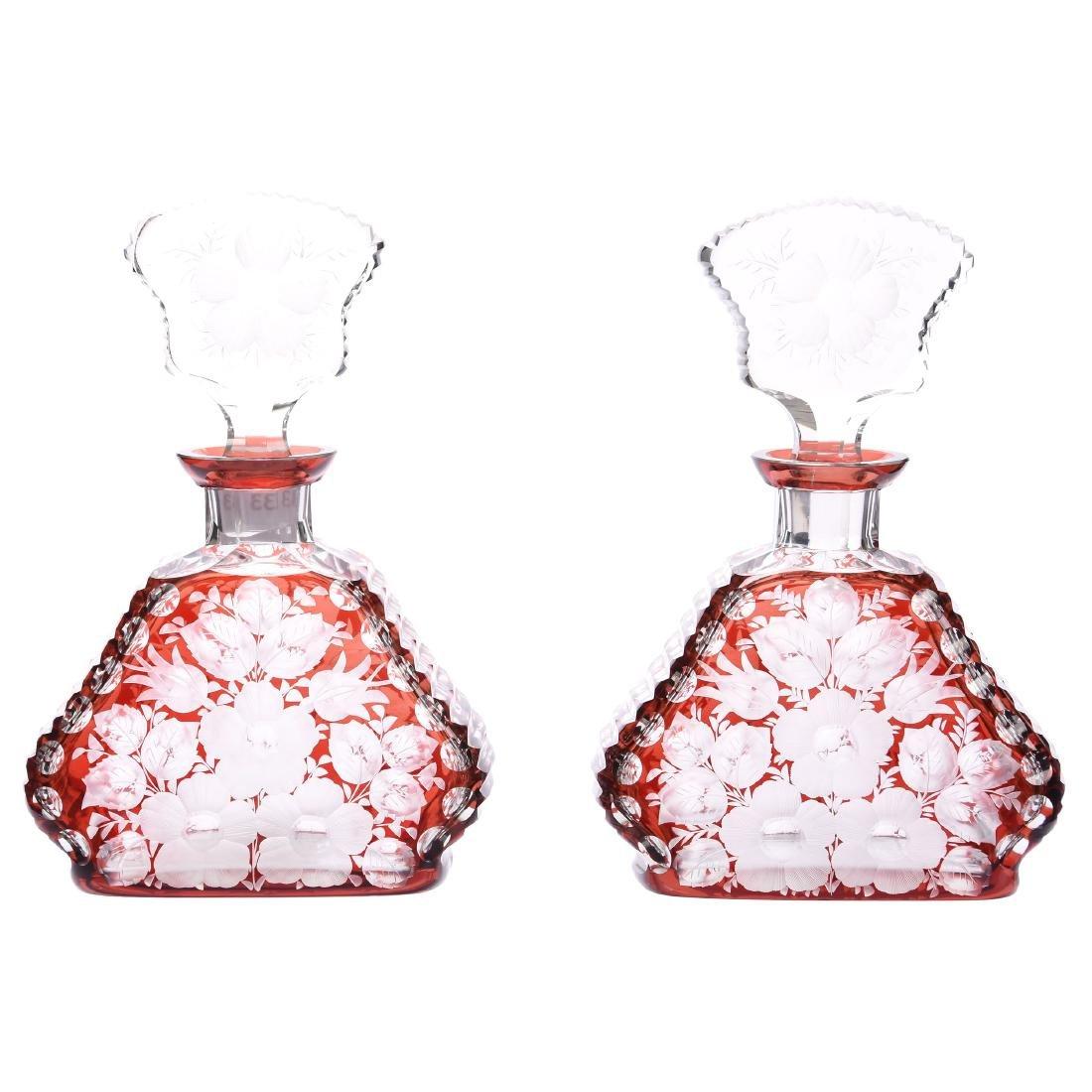 Pair Colognes, Engraved Floral Design