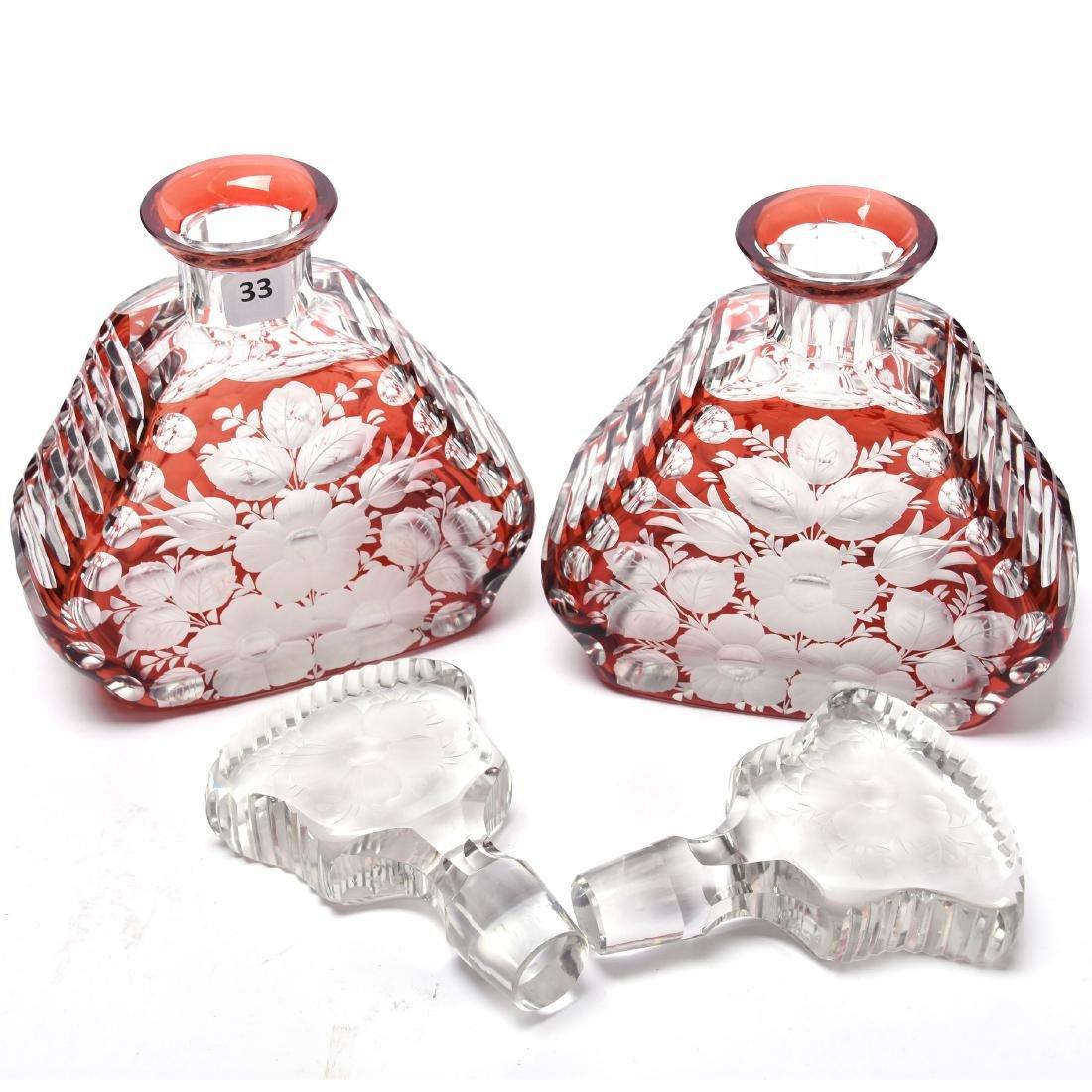 Pair Colognes, Engraved Floral Design - 2