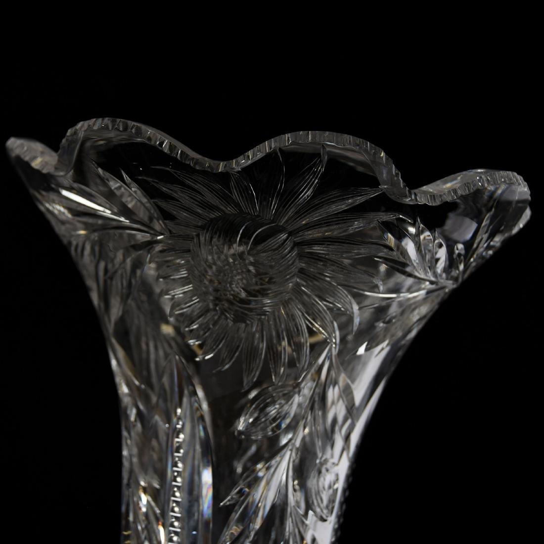 Pedestal Vase, Hawkes, Engraved Aster Floral Motif - 3