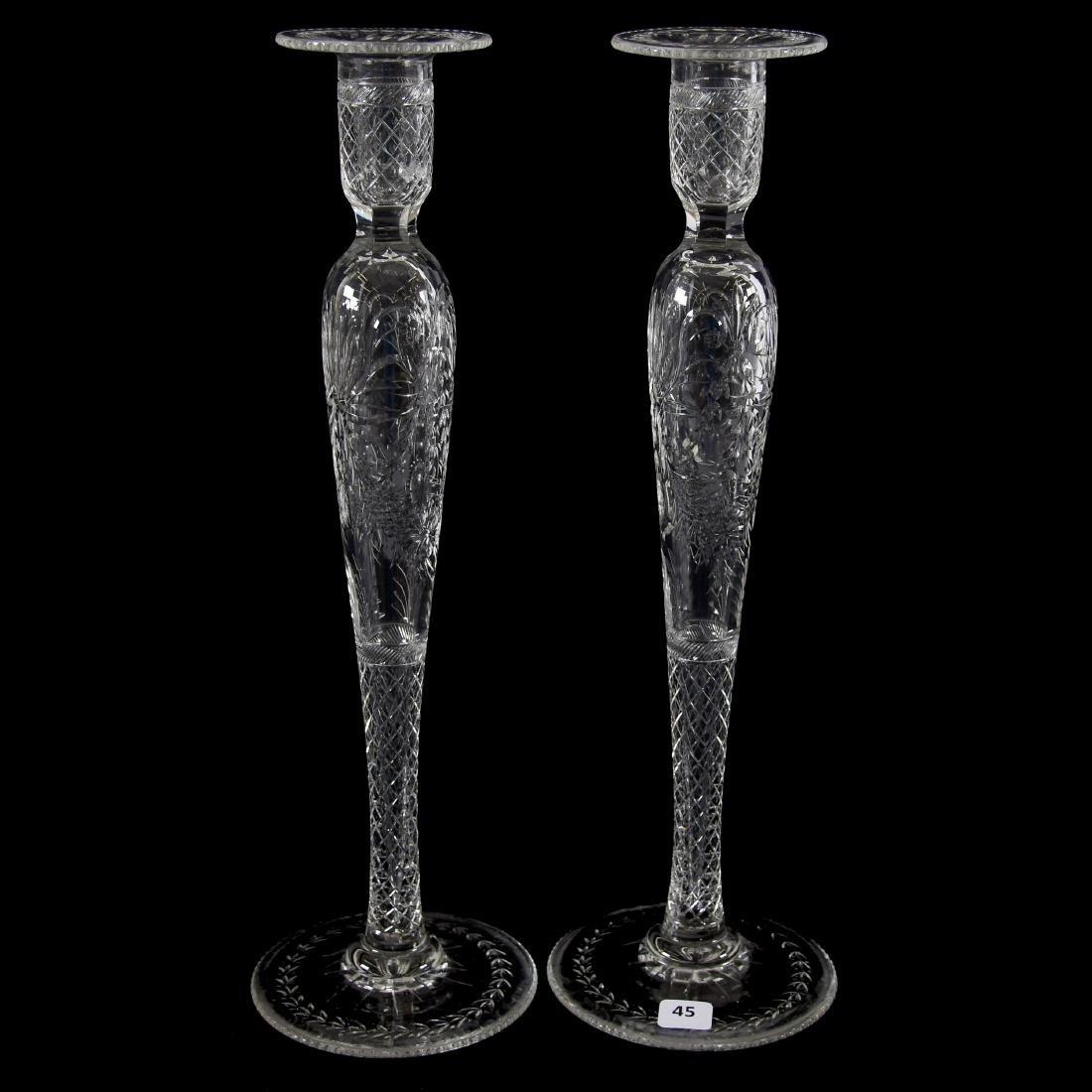 Pair Candlesticks, Engraved Design