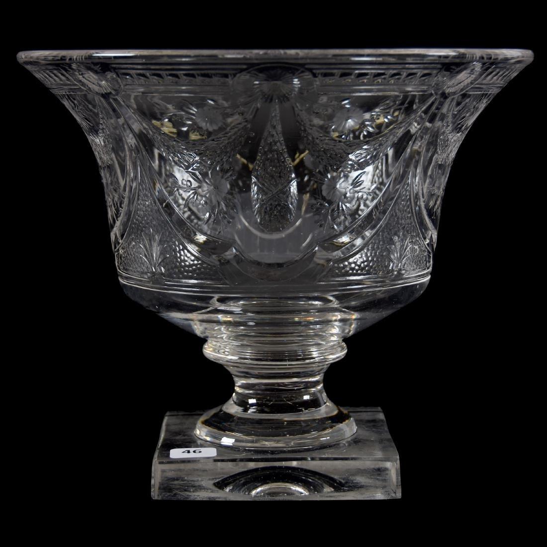 Pedestal Bowl, Engraved Garland & Floral Motif