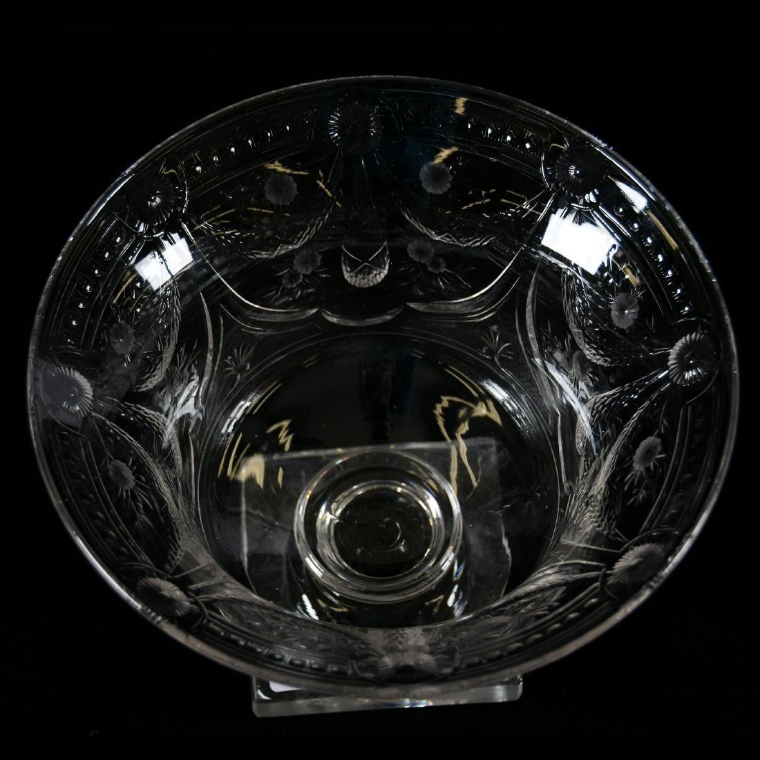 Pedestal Bowl, Engraved Garland & Floral Motif - 3