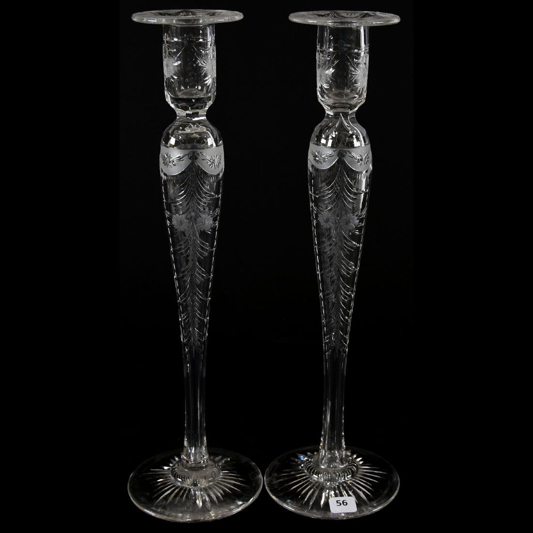 Pair Candlesticks, Engraved Floral & Garland Motif