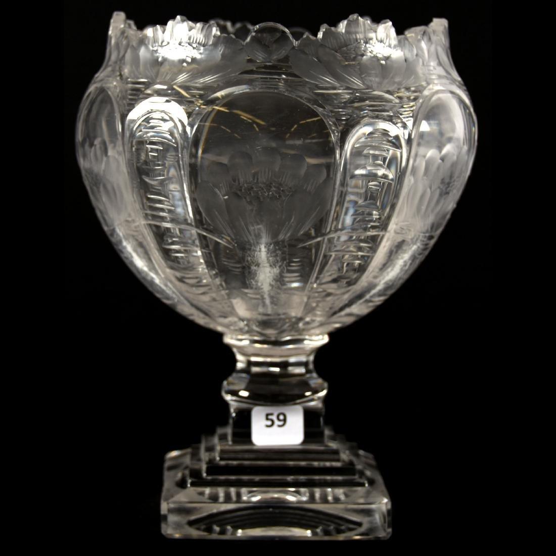 Pedestal Rose Bowl, Engraved Waterlily Design