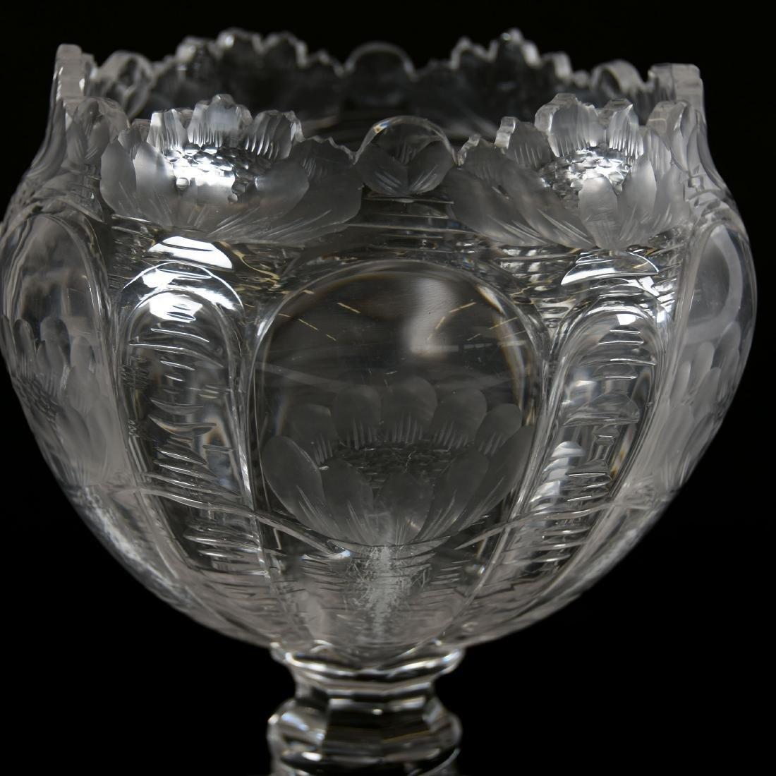 Pedestal Rose Bowl, Engraved Waterlily Design - 4