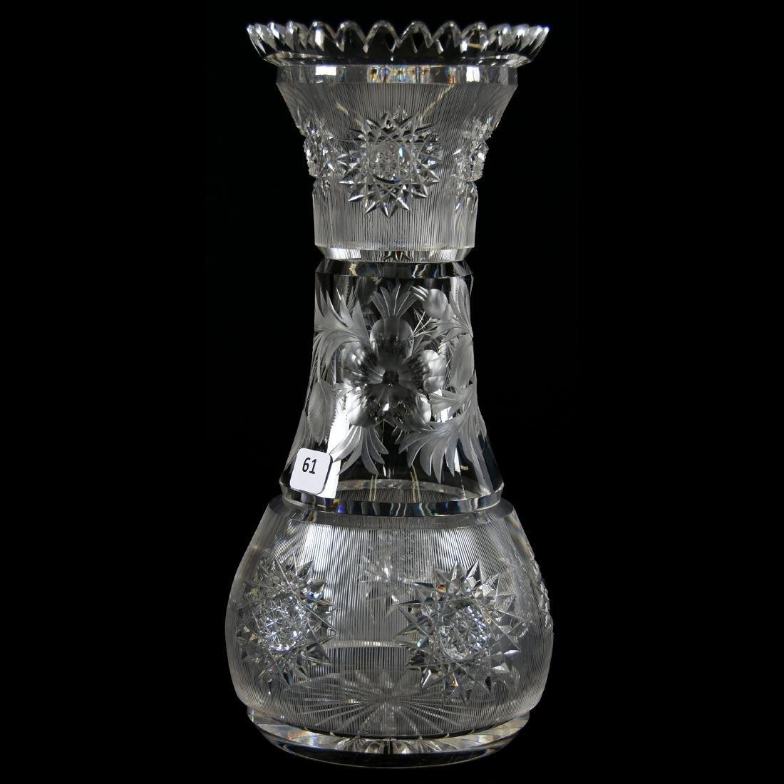 Vase, Engraved Floral Center Band