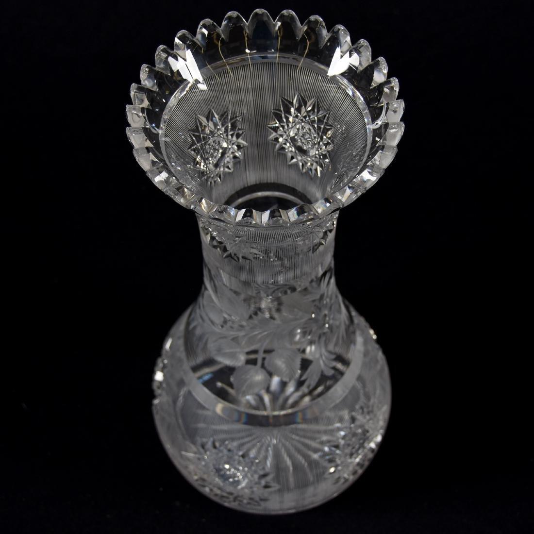 Vase, Engraved Floral Center Band - 3