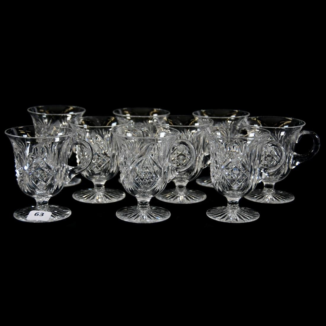 (9) Punch Cups, Hobstar, Nailhead Diamond & Fan Motif
