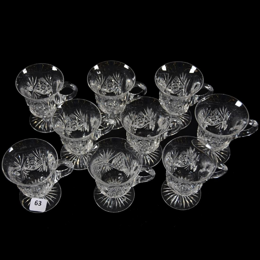 (9) Punch Cups, Hobstar, Nailhead Diamond & Fan Motif - 2