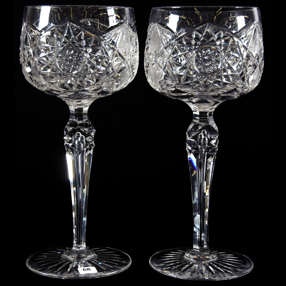 Pair Massive Goblets, Hobstar & Strawberry Diamond