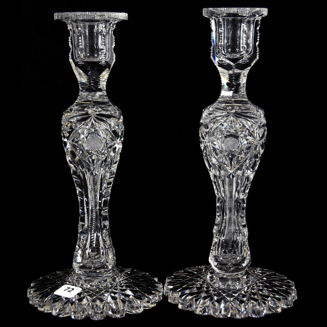 Pair Candlesticks, Signed Egginton, Victoria Pattern