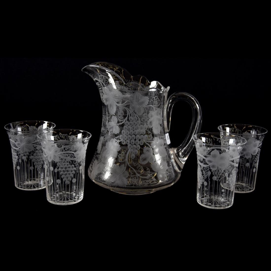 Water Set, Signed Hawkes, Engraved Vintage Motif