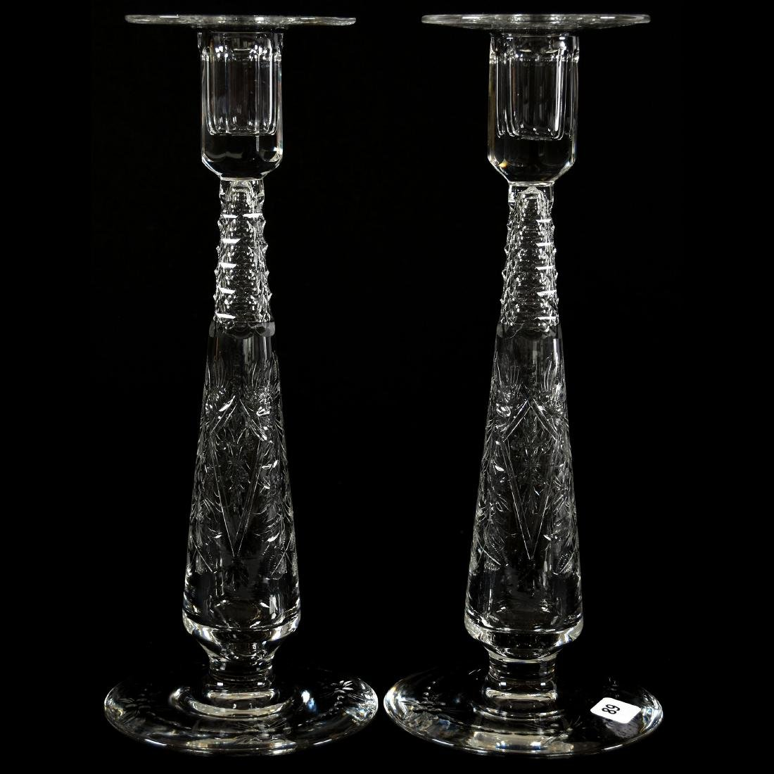 Pair Candlesticks, Signed Hawkes, Engraved Floral