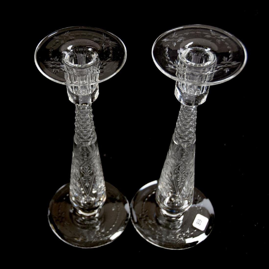 Pair Candlesticks, Signed Hawkes, Engraved Floral - 2
