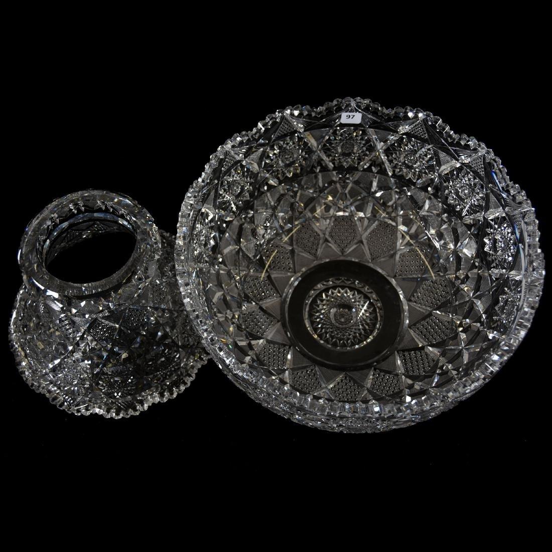 Punch Bowl, Geometrically Cut Design Hobstar - 2